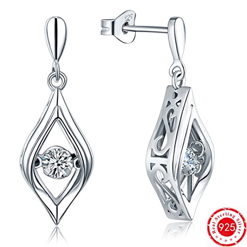(YL Eye of Lover Earrings Sterling Silver Dancing Diamond Teardrop Dangle Earrings Cubic Zirconia Jewelry)