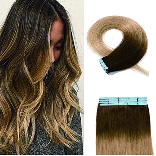 40 Pieces Ombre Tape in Hair Extensions Human Hair Seamless Skin Weft 100% Real Remy Invisible Tape Hair Extensions Straight Double Sided 20 inches #4T27 Medium Brown to Dark Blonde 100g
