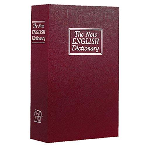 super1798Creative caja libro libro seguro secreto oculto, llave y cerradura seguridad Stash Box, Rojo