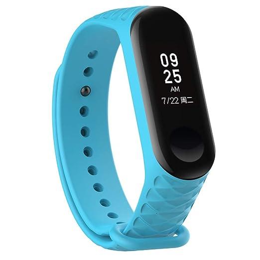 Xiaomi Mi Band 3 Wristbands Reloj para Unisex Silicona Bandas de rombo Correa Color sólido Pulsera de Suave Brazalete Repuesto Strap de Elegante Cadena: ...