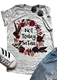 Amazing Speed Womens Short Sleeve T-Shirt Not Today Satan Letters Printed Causal Tops Blouse (Gray, M)