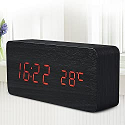 Quality Digital Led Alarm Clock Sound Control Wooden Despertador Desktop Clock Usb/Aaa Powered Temperature Display^Red.