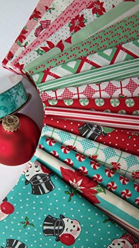(Sweet Christmas Vintage Christmas Fabric Moda Fabrics ~ 16 Fat Quarters Bundle 4 Yards)