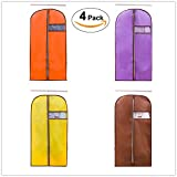 yellow garment bag - I-Choice Garment Bags for Clothes, Breathable Suit Bags for Storage or Travel, Dress Protector, Jacket Cover, Oxford Material, Set of 4 (Brown,Orange, Purple,Yellow, 23