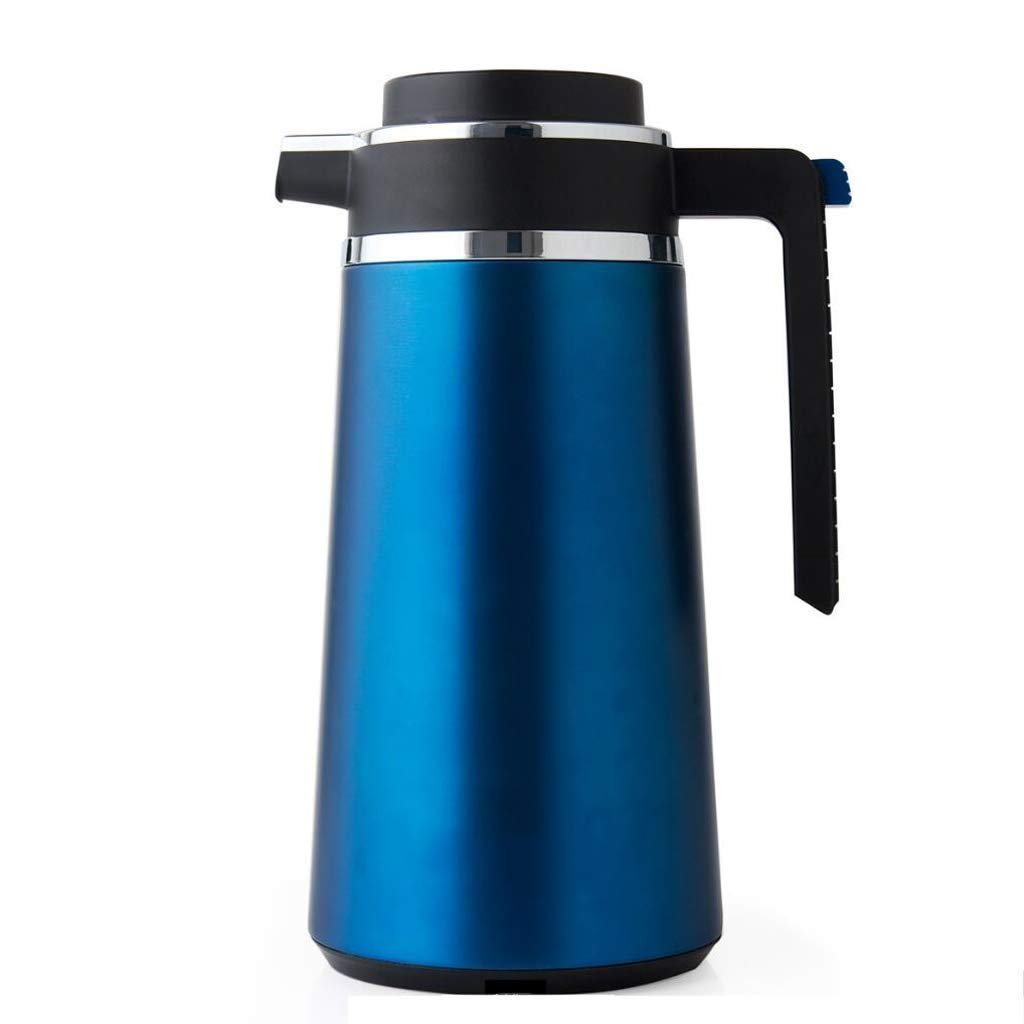 Insulated Vacuum Thermal Flask Stainless Steel Coffee Jug Double Walled Vacuum Jug Flask Water Pitcher with Lid Handle (Color : Blue, Size : 1.6L)