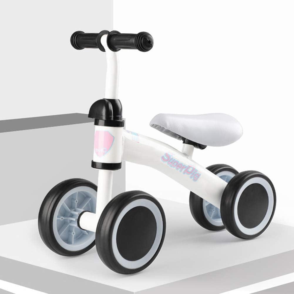 DFSSD Infantil Correr Bicicleta de Entrenamiento, la Bici del bebé Equilibrio, 160 Grados de dirección con límite, sin-Pedal, Altura Ajustable, Primer Regalo de la Bici del bebé,Blanco