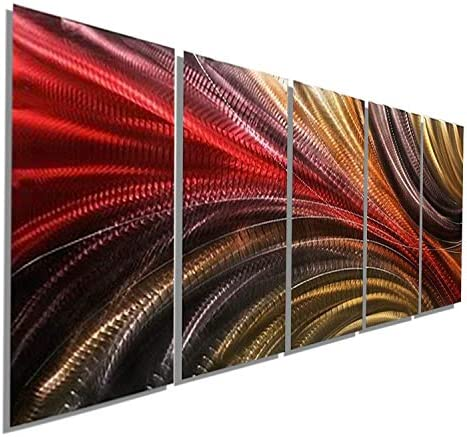 Red, Gold and Charcoal Abstract Metallic Wall Painting – Modern Contemporary Home Office Decor Hanging Sculpture Art – Cosmic Significance 2 by Jon Allen
