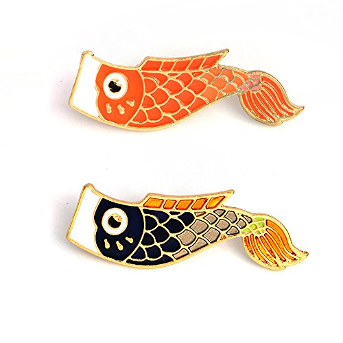 (Fashion Cartoon Enamel Brooch Pins Set for Unisex Child Women's Clothing Decorate (Japanese Style Koi Fish Set))