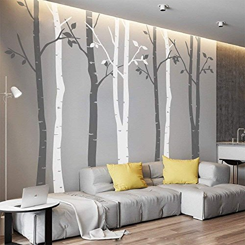 N.SunForest 7.8ft Grey and White Birch Tree Vinyl Wall Decals Nursery Forest Family Tree Wall Stickers Art Decor Murals - Set of 8 (Decal Wall Vinyl Nursery)