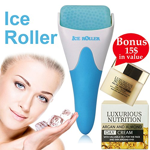 Feel Refreshed At All Times With Facial Ice Roller Puffiness Reducer Anti-Aging Massager, Soothing Eye Bags Remover 4 Men, Women, Headache Migraine Reliever+European Super Nutrient Facial Cream+E-Book