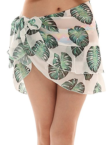 ChinFun Women's Beach Cover Up Short Sarong Dress Pareo Multi Wear Ruffle Swim Skirts Bathing Suit Bikini Chic Mini Sexy Swimsuit Wrap Swimwear Chiffon Shawl Light Green ()