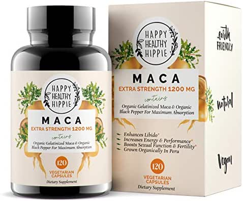 Organic Maca Root Supplement 1200mg – Gelatinized - Fast Superior Absorption - Powerful Peruvian Natural Energizer - Libido, Passion Performance for Women and Men - 120 Maca Capsules and Black Pepper