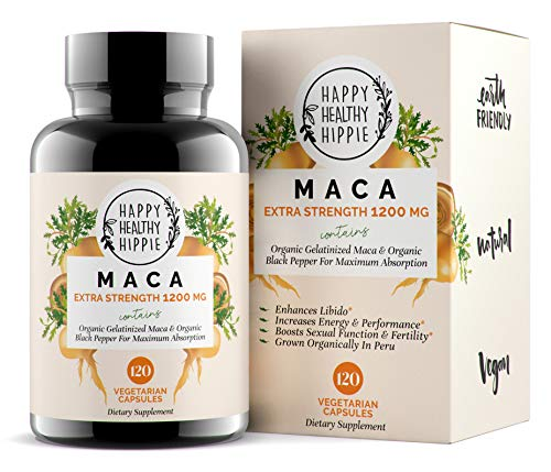 Organic Maca Root Supplement 1200mg - Gelatinized - Fast Superior Absorption - Powerful Peruvian Natural Energizer - Libido, Passion Performance for Women and Men - 120 Maca Capsules and Black Pepper
