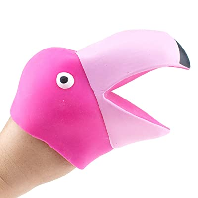 Kids Hand Puppet Movable Open Mouth Flamingo Head Animal Hand Puppet Party Toy: Everything Else