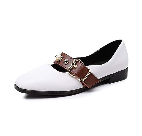 Mocasines para Mujer otoño Plana Retro cinturón Hebilla literaria Estudiante Mary Jane Zapatos de Gran tamaño: Amazon.es: Zapatos y complementos