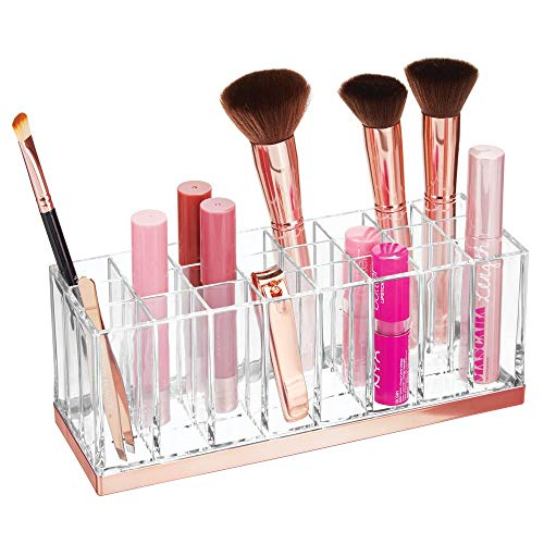 mDesign Plastic Cosmetic Organizer Storage Center with 24 Sections for Bathroom Countertops, Vanity - Hold Makeup Brushes, Lipstick, Lip Gloss, Concealers, Mascara, Eye Pencils - Clear/Rose Gold