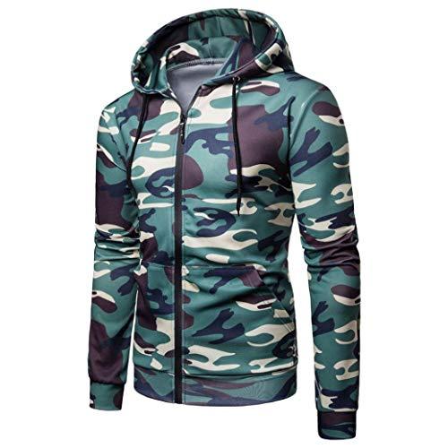 kaifongfu Men Camouflage Long Sleeve Tee Hooded Sweatshirt Top Outwear BlouseGreenXL