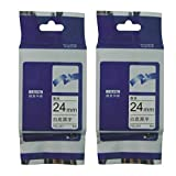2pcs label maker Compatible for brother label tape tze tz tape tz251 tze-251 tze251 24mm*8m P-touch label printer (black on white)