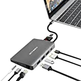 USB Type C Hub Aluminum Multi-Port Adapter with 4K HDMI, Mini Display Port, 1000M Ethernet LAN, 2USB 3.0, SD/TF Card Reader, 3.5mm Audio/Mic 2 in 1, and Type C Power Delivery for MacBook Pro and more
