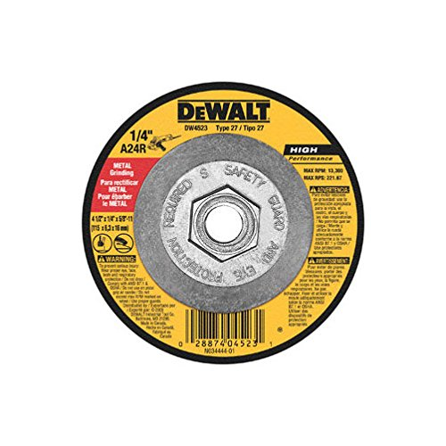 - Dewalt DW4523 10 Pack 4-1/2-Inch by 1/4-Inch by 5/8-Inch General Purpose Metal Grinding Wheel