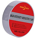 1in x 5yds High-Intensity Reflective Tape for Vehicles Bikes Clothes Helmets Mailboxes,Silver & White
