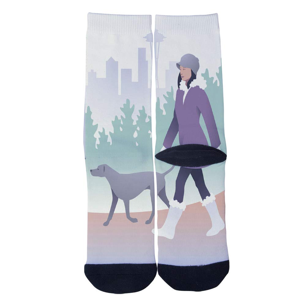 Mens Womens Casual Walking The Dog In Seattle Art Socks Novelty Custom Socks Hip Hop Cartoon Socks Elite Crew Socks