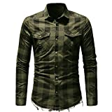 Gergeos Men's Plaid Button Pocket Slim Fit Long Sleeve Shirt (Army Green,XXL)