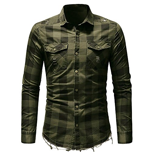 MODOQO Men's Long Sleeve Plaid Shirt with Pocket Business Slim Fit Blouse Top (Army Green,M) (Baby Thermal Long Sleeve Henley Army Green)