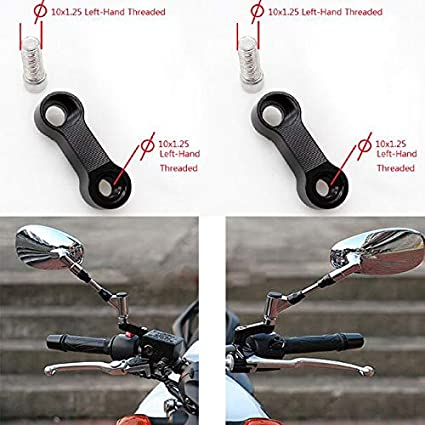 10mm X 1.25mm Pitch Right+Right Threaded Motorcycle Bike Cruisers Scooters Mirror Mount Riser Extender Adaptor Adapter Aluminum Moto M10 Accessories
