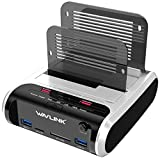 "WAVLINK USB 3.0 to SATA Dual Bay Hard Drive Docking Station with Offline Clone Function for 2.5""/3.5"" SATA HDD SSD, Support Fast Charger and TF & SD Card (2X 10TB)"