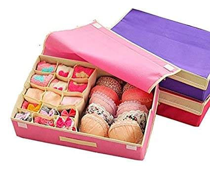 Home Closet Organizer Folding 2 In 1 Bra Underwear Storage Box Non Woven  Fabric Women