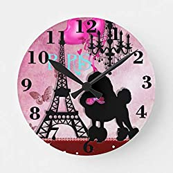 French Paris Girly Chic Poodle Eiffel Tower Damask Wall Clock Non Ticking Silent Small Wood Clock Battery Operated 10 inches