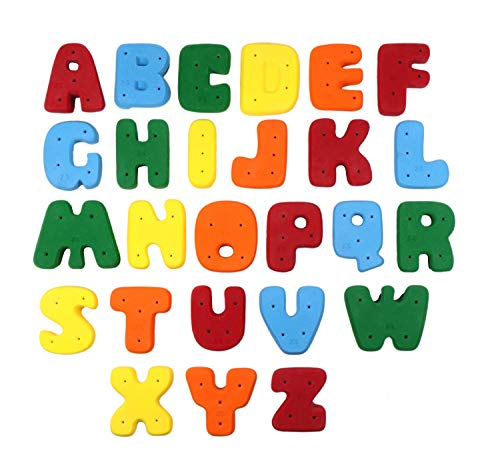 Alphabet Climbing Holds - XL Screw-On Alphabet ABC Set l Climbing Holds l Mixed Bright Tones