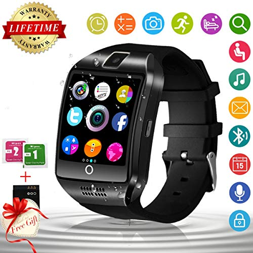 Smart Watch,Bluetooth Smartwatch Touchscreen with Camera, Smart Watches Waterproof Smart Wrist Watch Phone Compatible Android iOS for Men Women Kids (Black)