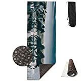Unisex Fitness Yoga Mat Running Horse Under Cloudy Unique Non-Slip Pattern Towels,Pilates Sports Paddle Board Yoga Exercise 24 X 71 Inches Durable Yoga Mats,All-Purpose