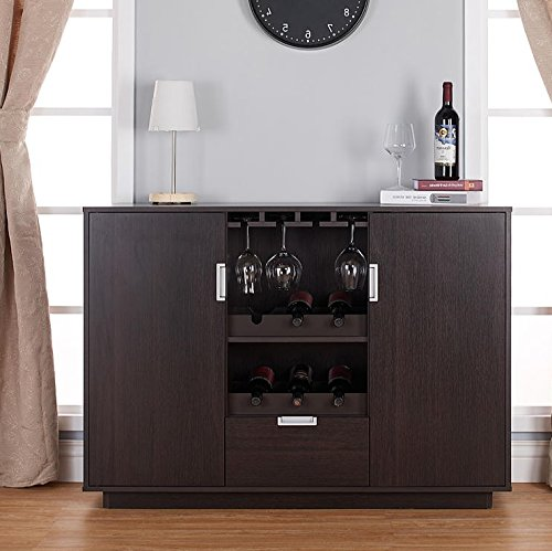 Liquor Storage Cabinet Buffet with Drawers in Brown – Dining Server is Great for Storage of Your Favorite Bottles of Wine, Liquors, Glassware, Dishes, and Accessories Bundle w Floor Protector Pads