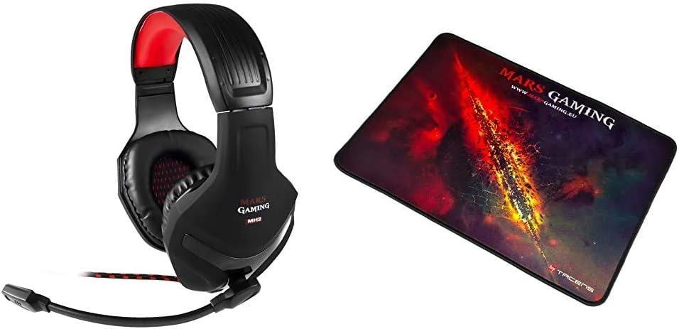 Mars Gaming MH2, Cascos Gaming, 1, Negro Y Rojo + MMP1 Alfombrilla Gaming para PC (Máxima Precisión con Cualquier Ratón, Base de Caucho Natural