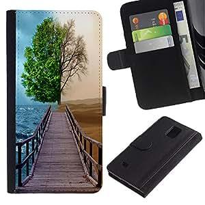 Ihec-Tech / Flip PU Cuero Cover Case para Samsung Galaxy Note 4 SM-N910 - Different Season Tree