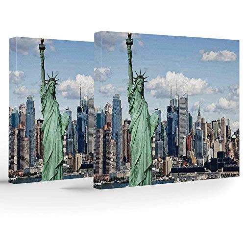 ZOMOY Canvas Print,New York,Wall Decorations for Home Living Room Bedroom Bathroom Lake House,Statue of Liberty in NYC Harbor Urban City Print Famous Cultural Landmark Picture - House Liberty Lake