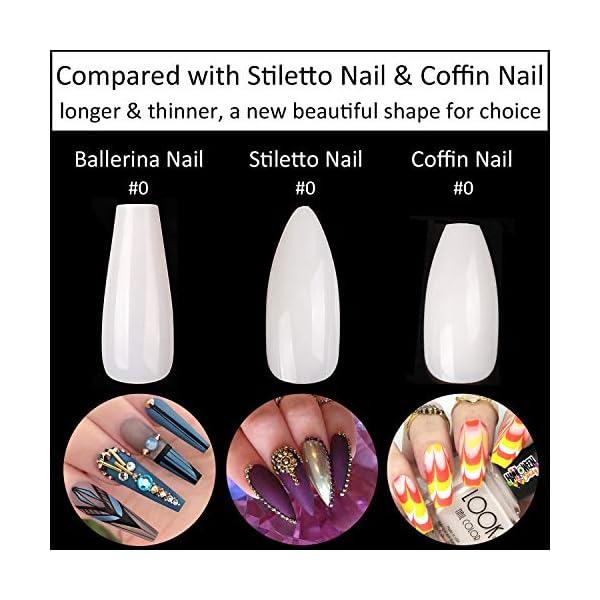 Coffin Nails Long Fake Nails - Clear Acrylic Nails Coffin Shaped Ballerina Nails Tips BTArtbox 500pcs Full Cover False…