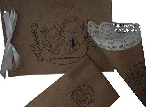 Conjunto para boda, 25 conos para arroz, 25 bolsas detalles ...