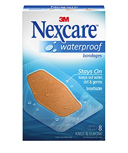 Protection Clear Waterproof Nexcare Bandages (Nexcare Waterproof Clear Bandage, Knee and Elbow, 8-Count Packages (Pack of 24))