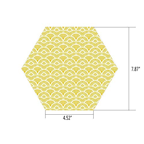 iPrint Hexagon Wall Sticker,Mural Decal,Yellow,Ethnic Vintage Hand Drawn Shaded Oriental Patterns Chic Geometric Lines Motifs Home Decorative,Cream Yellow,for Home Decor 4.52x7.87 10 Pcs/Set