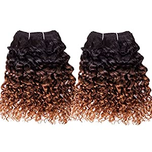 Emmet 2pcs/lot 100g Short Wave 8Inch Brazilian Kinky Curly Human Hair Extension, with Hair Care Ebook (1B#/30#)