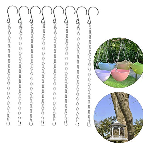 VintageBee 8 Pack 19.7 inch/ 50cm Silver Hanging Chains Flower Pot Basket Bird Feeders,Planters, Lanterns and Ornaments Garden Plant Hangers