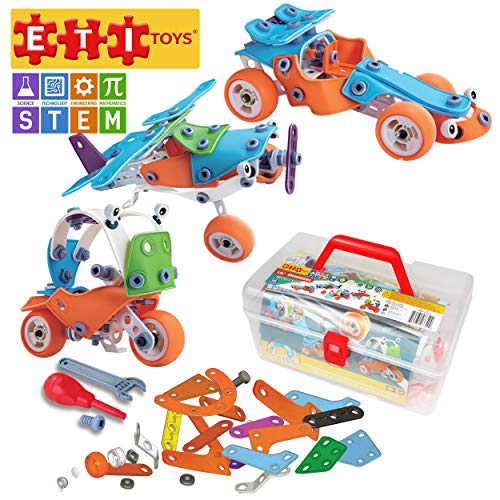 ETI Toys   STEM Learning   132 Piece Lil Engineers Build & Play 5 Vehicle Building Blocks; Bulldozer, Racecar & More! Creative Skills Development! Gift Toy for 8, 9, 10 Year Old Boys and Girls