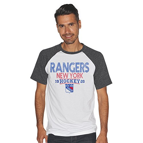 G-III Sports NHL New York Rangers Men's Heritage Color Block Short Sleeve Tri Blend Top, Medium, White/Charcoal