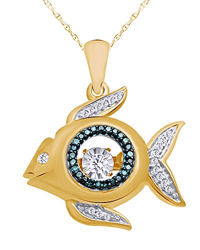 Diamond Accent Fish Pendant - Wishrocks Natural Blue and White Diamond Accent Fish Pendant Necklace in 14K Yellow Gold Over Sterling Silver