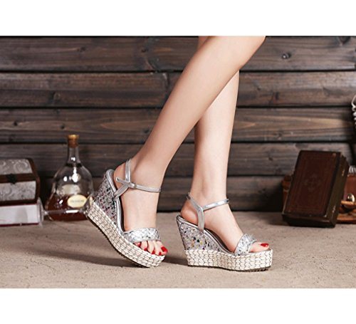 Elegant Women Wedges Sandals Gold Braided Thick Sandals Ankle Shoes (Color : Silver, Size : 36)