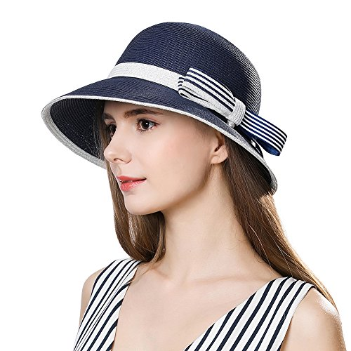 Cloche Brimmed (Womens Straw Sunhat Fedora Summer Wide Brimmed Beach Accessories Foldable Cloche Derby Navy)
